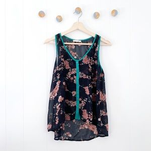 Lush Sheer Floral Button Down Tank Pintucked | S